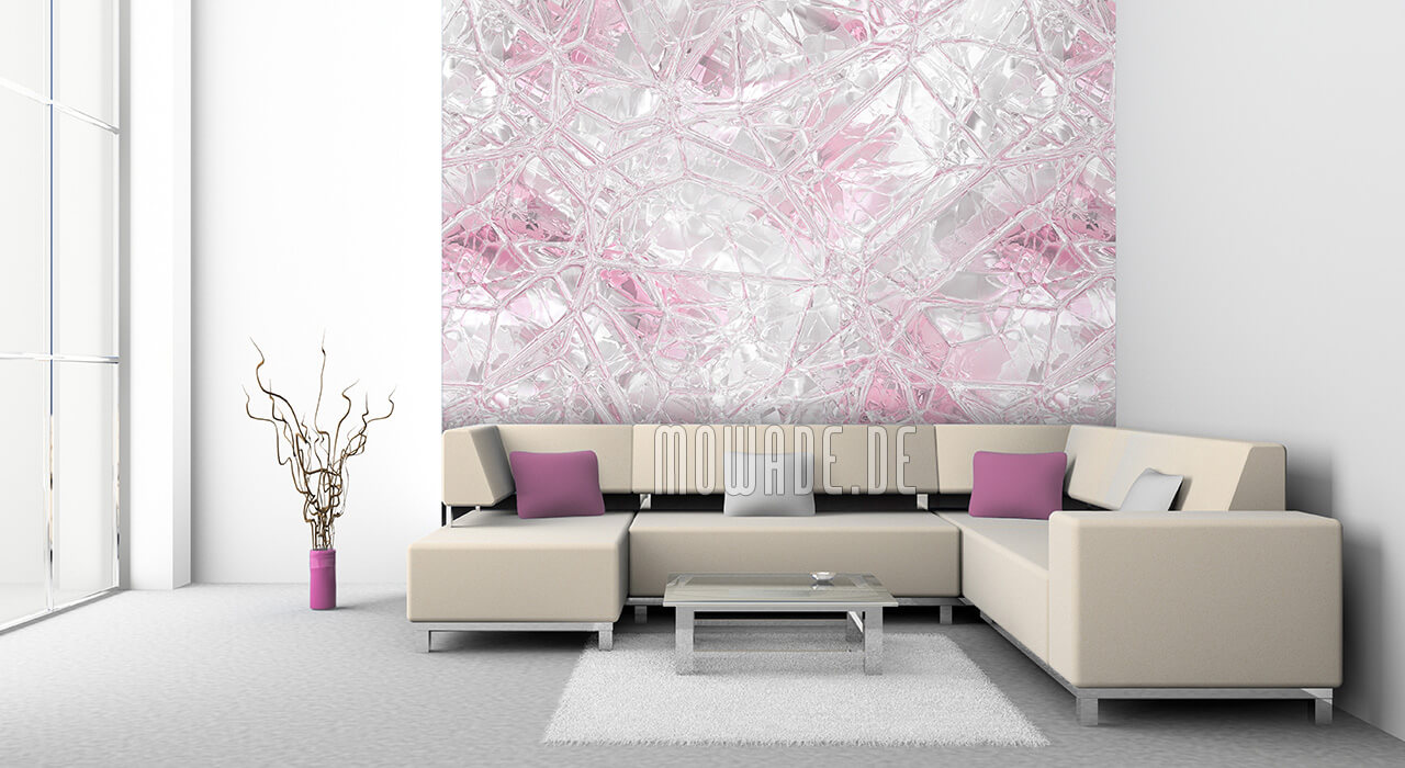 wandmotiv weiss rosa bild-tapete glas-mosaik