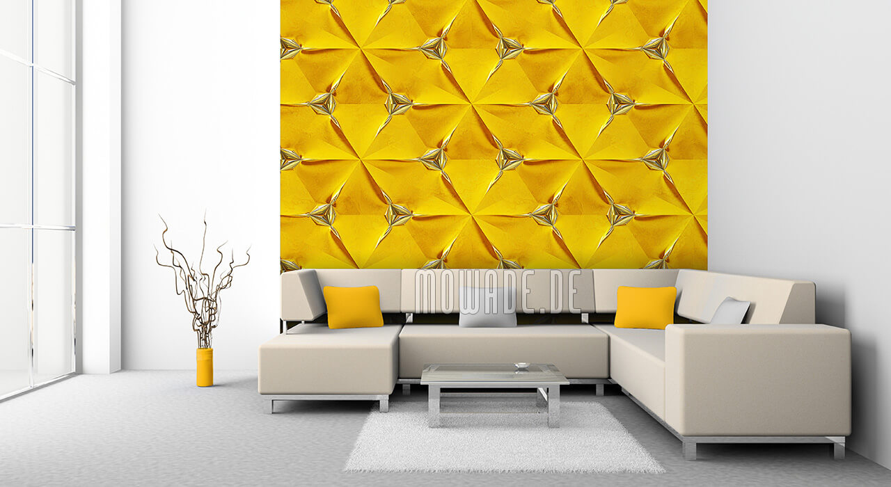 wohnzimmer tapete gelb geometrisches muster vlies