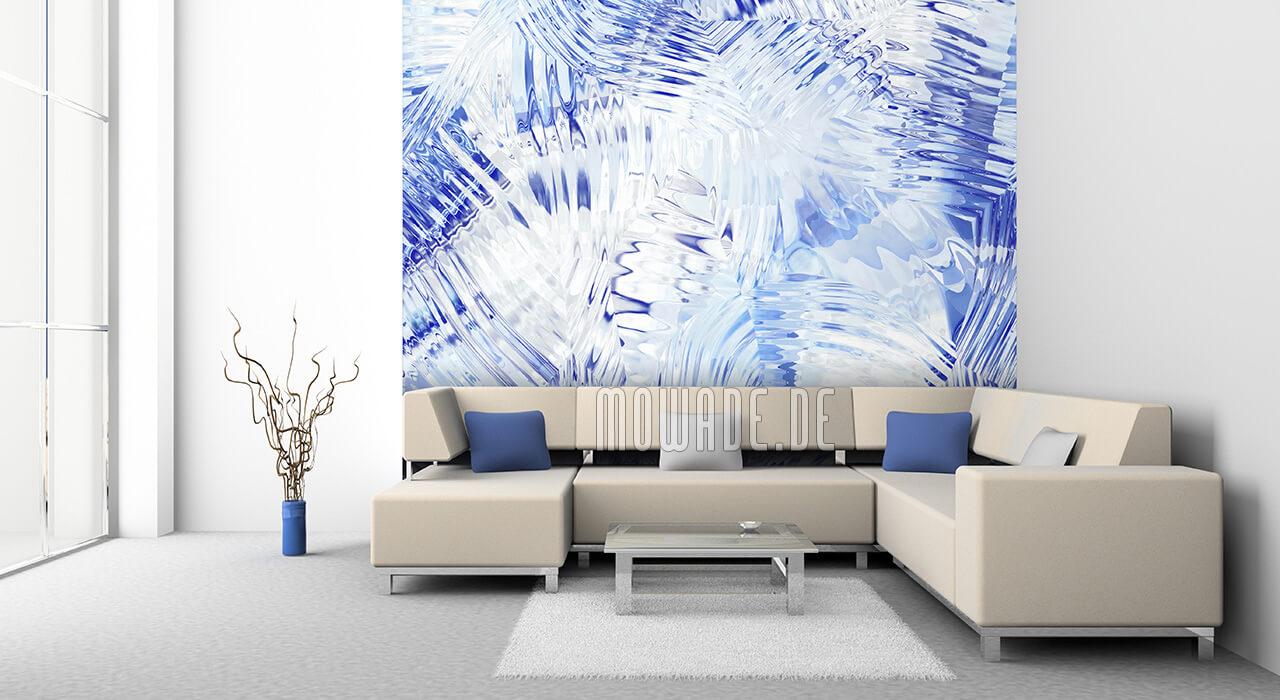 ausgefallenes tapetendesign blau weiss bild vlies wohnzimmer