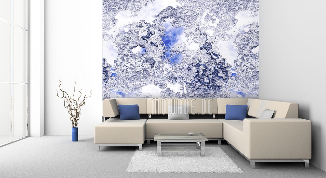 bild-tapete blau weiss putz-struktur