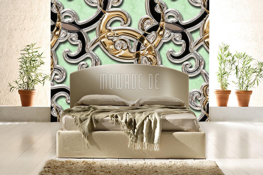 bild tapete neo-barock hellgruen gold schwarz ornament xxl vlies