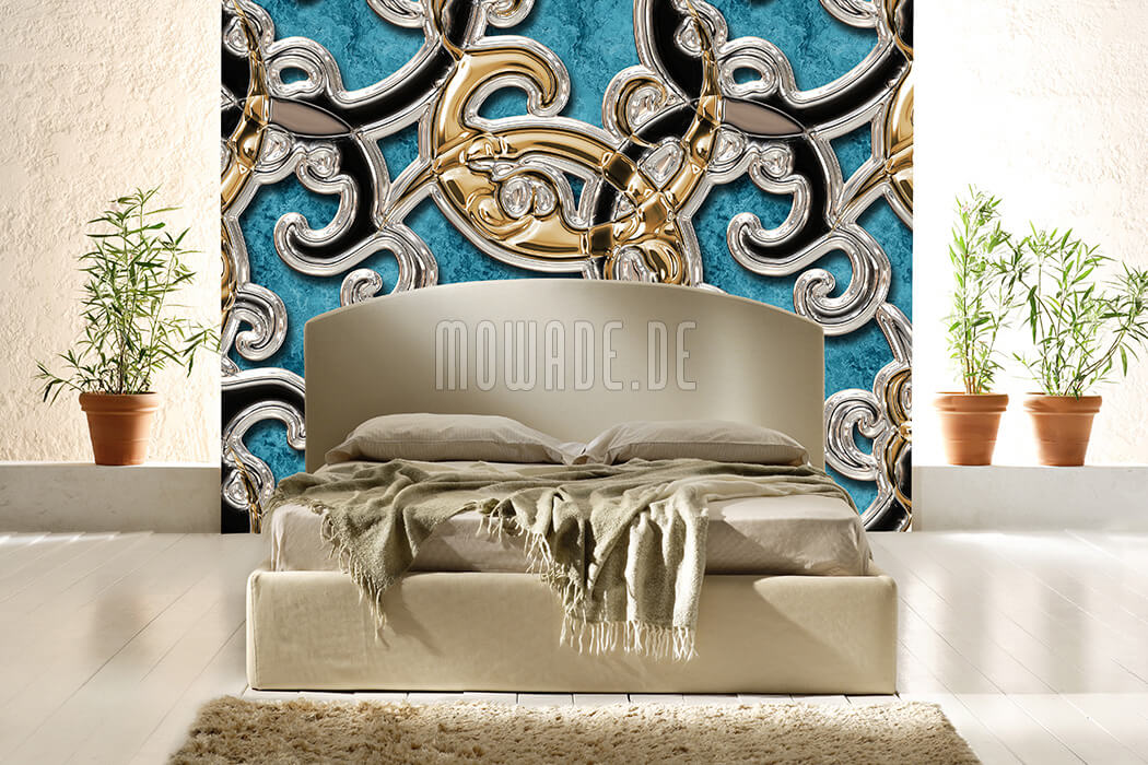 bild tapete tuerkis gold schwarz xxl ornament wohnzimmer