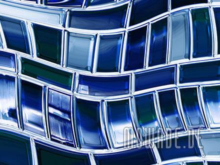 blaue tapeten wandgestaltung wohnzimmer wellen-mosaik