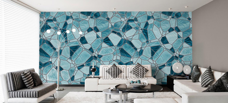 design tapete mosaik tuerkis wohnzimmer hotel vlies