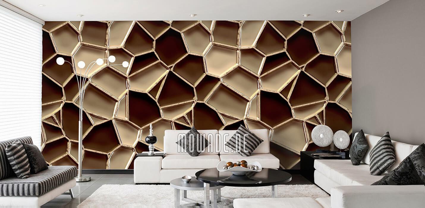 designer fototapete braun mosaik metall-optik waben
