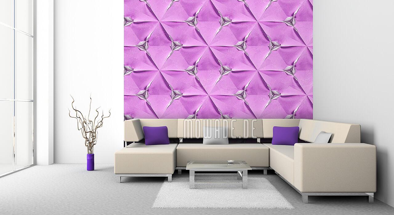 designer tapete flieder silber geometrisches muster