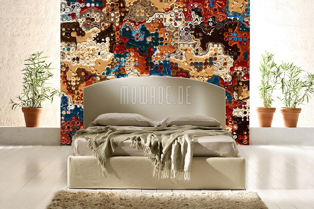 designer tapete gold blau rot vlies wohnzimmer