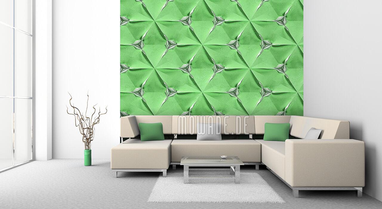 designer-tapete hellgruen silber geometrisches muster vlies