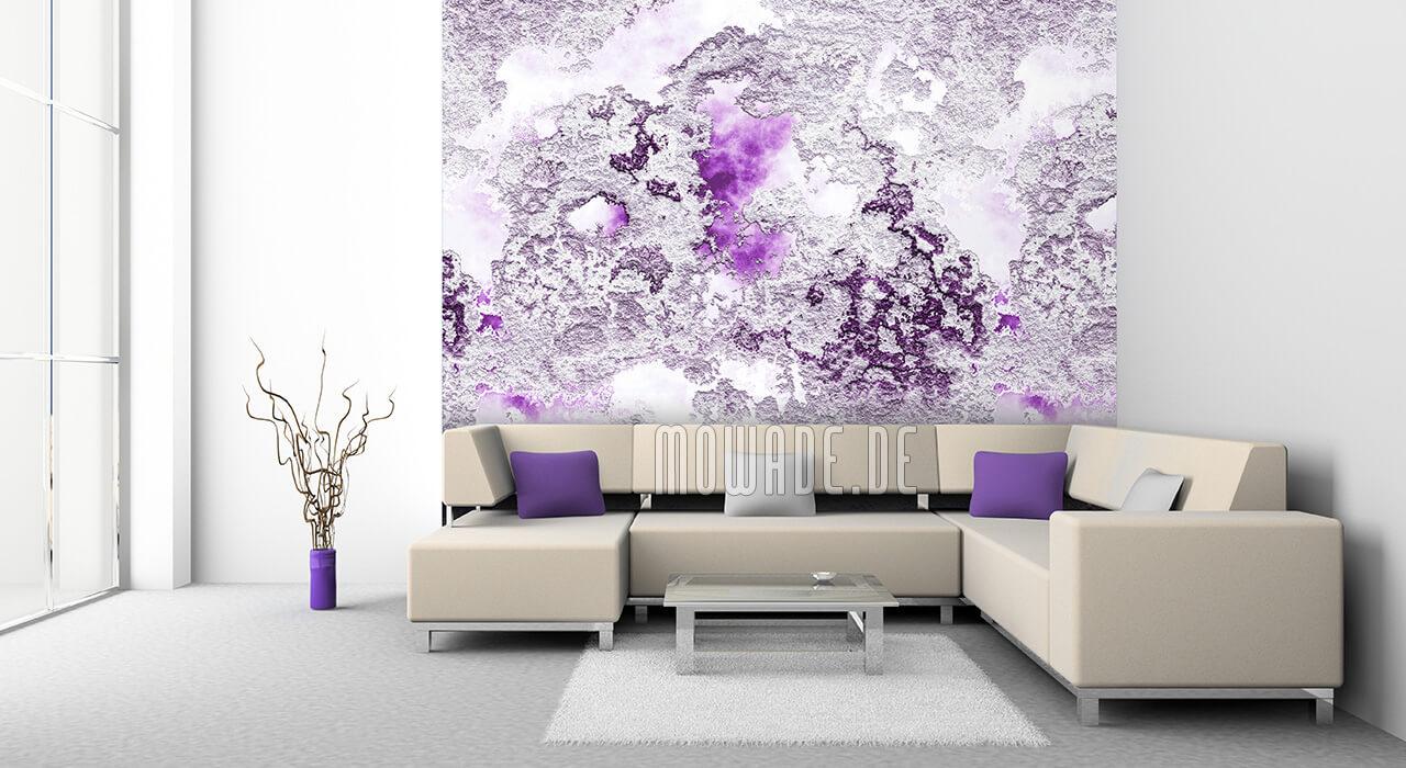 designer wandbelag violett weiss putzstruktur vliestapete
