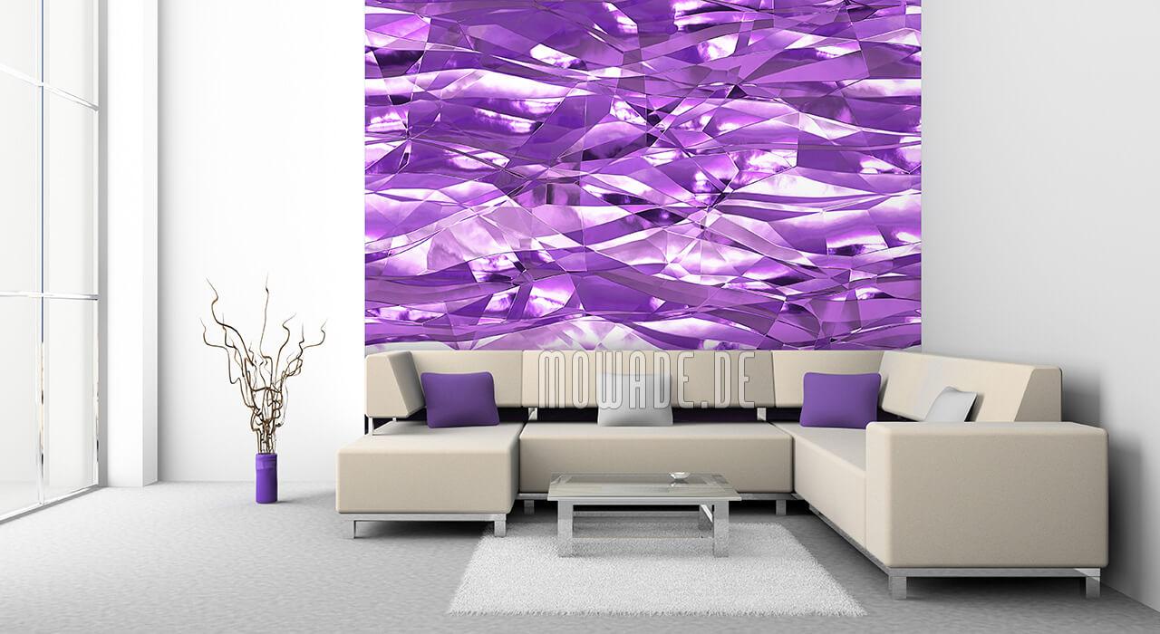 designtapete violett knitter crush-optik wohnzimmer