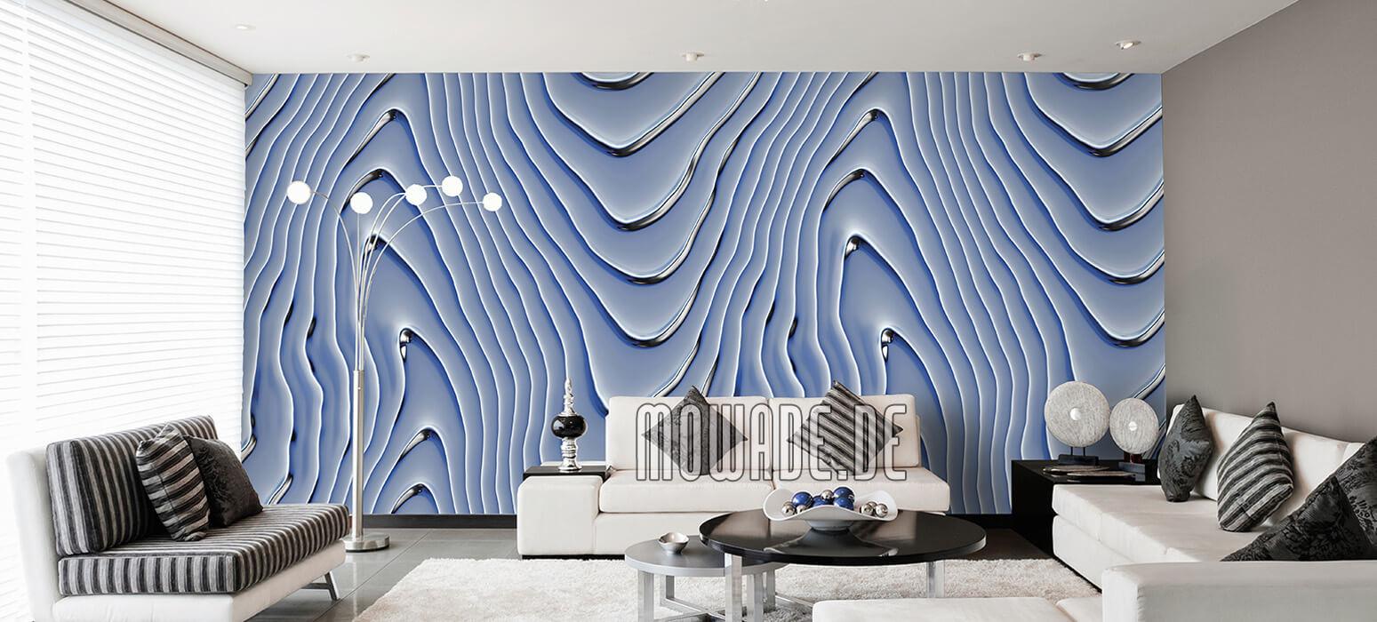 elegante vliestapete hellblau silbergrau wellen-motiv wohnzimmer lounge