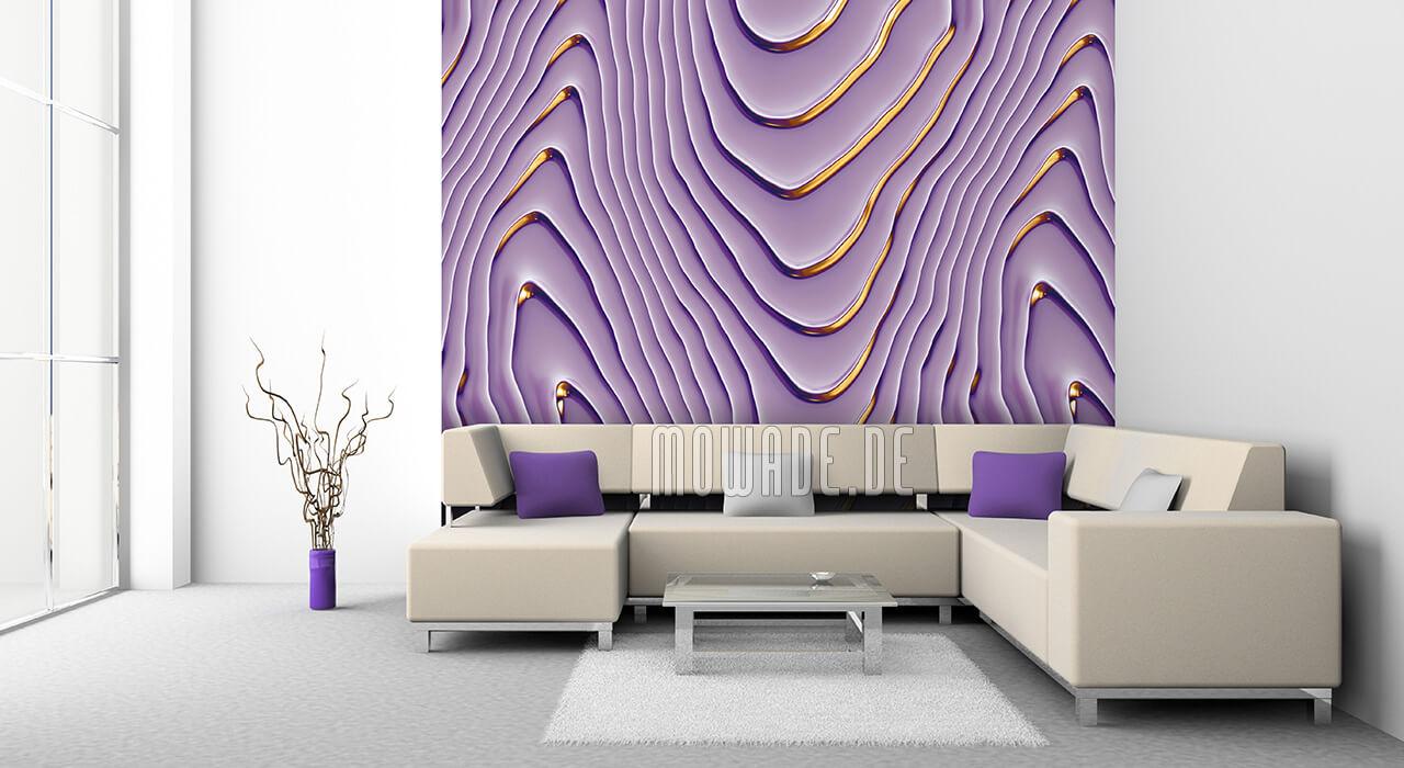 elegantes tapetendesign wellen-motiv lila flieder gold vlies