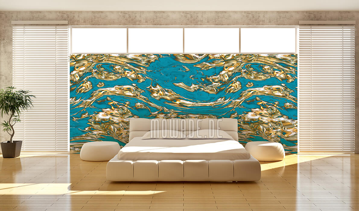 exklusives tapetendesign tuerkis gold fluss wohnzimmer