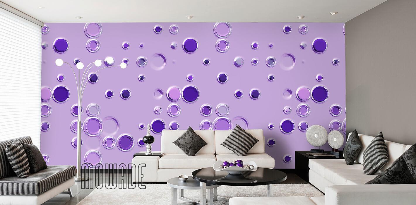 extravagante tapete lila flieder punkte kreise vlies lounge wohnzimmer design