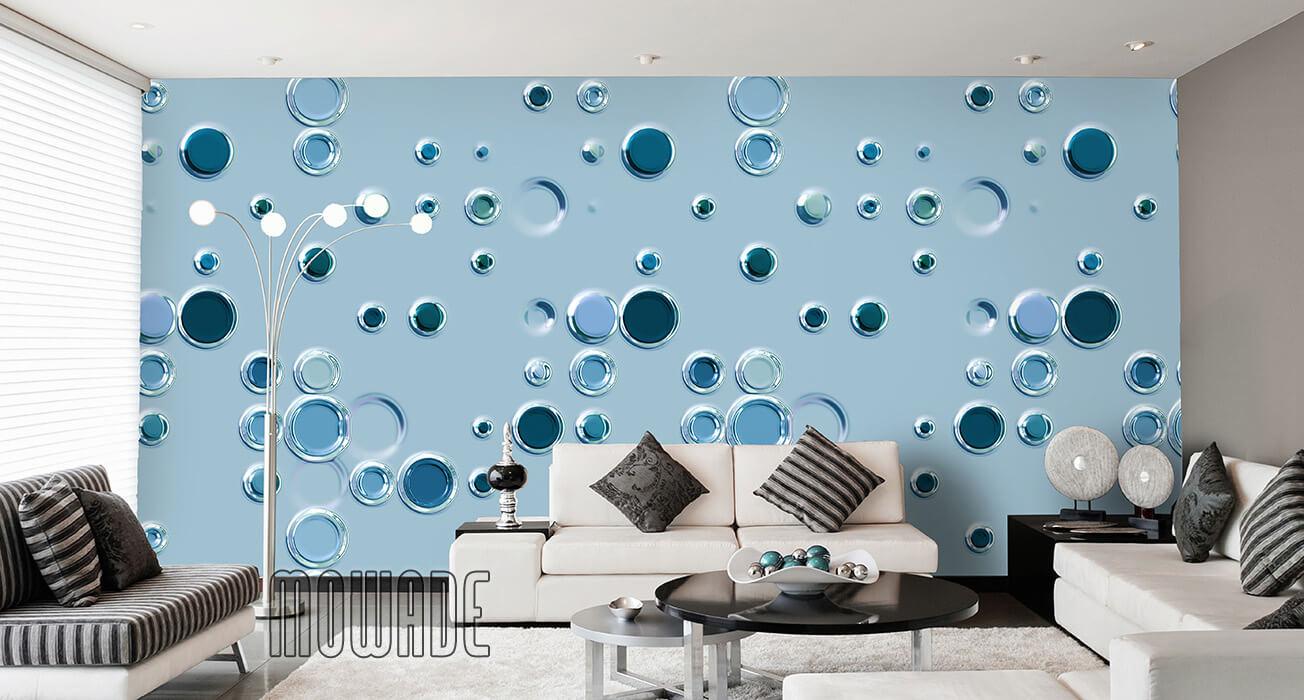 extravagante tapete tuerkis punkte kreise vlies lounge wohnzimmer design