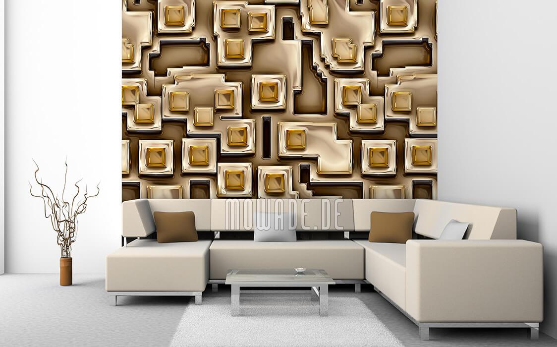 moderne fototapete gold braun metall-optik wohnzimmer online pueblos