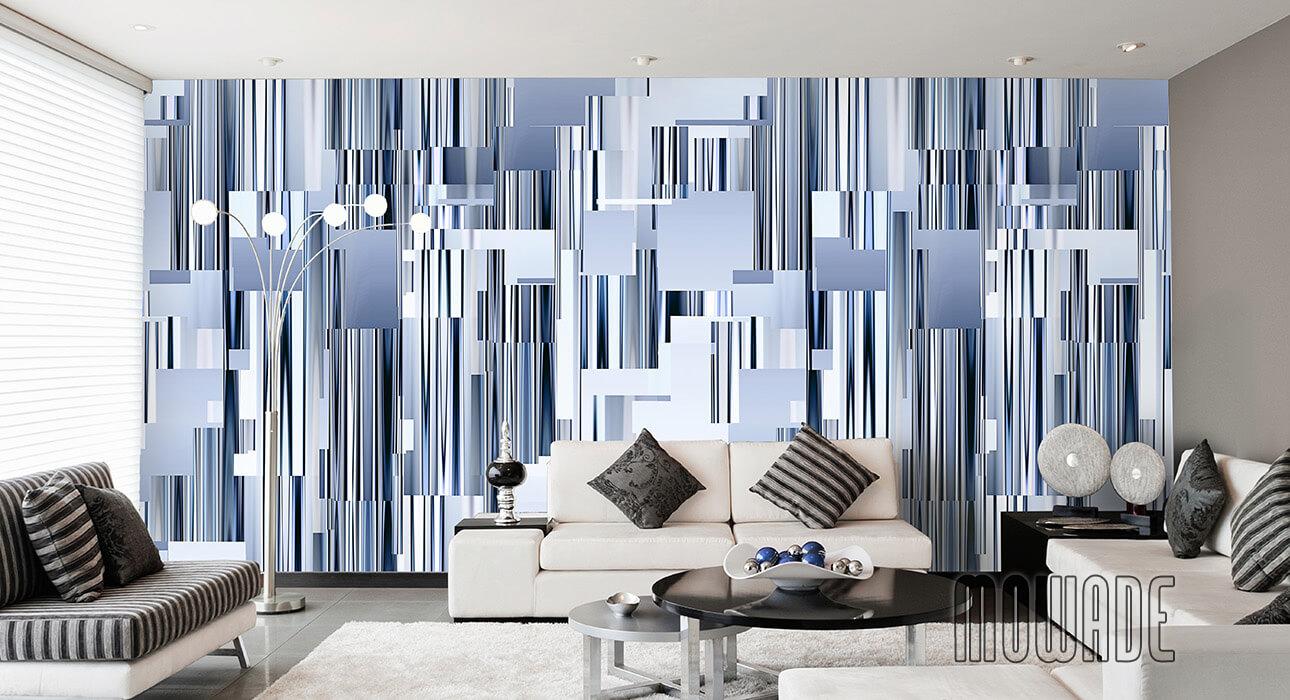 moderne wandgestaltung blau wohnzimmer lounge wandbild abstraktes stadt-panorama skyline vlies-tapete