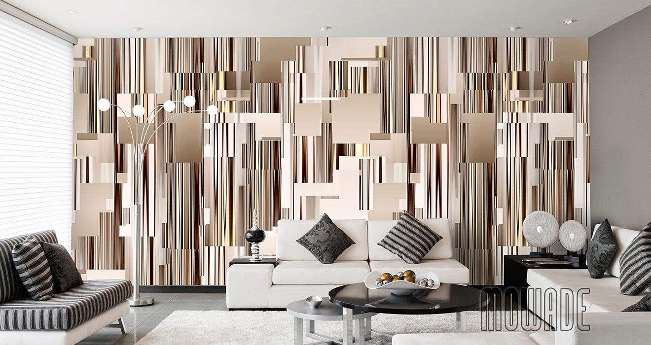 moderne wandgestaltung braun wohnzimmer lounge wandbild abstraktes stadt-panorama skyline vlies-tapete