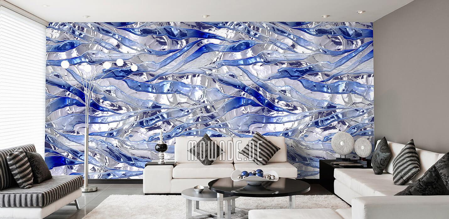 modernes interior-design weiss blau wand tapete bar lounge wohnzimmer knitterstreifen