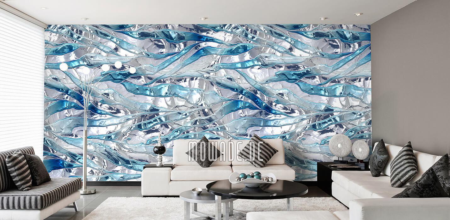 modernes interior design weiss tuerkis wand tapete bar lounge wohnzimmer knitterstreifen