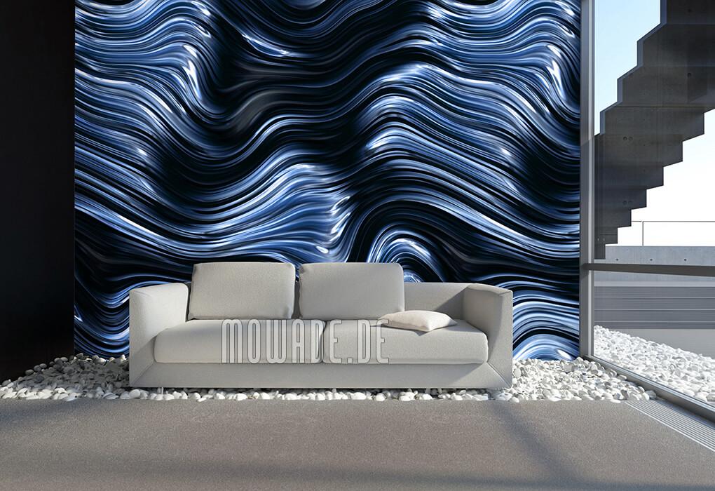 stylische wandgestaltung blau schwarz wellen-muster vlies fototapete