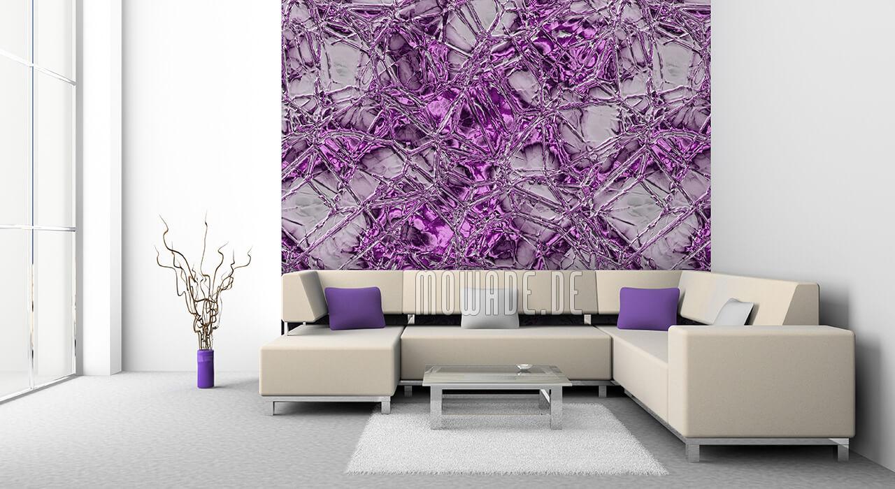 stylische wandgestaltung violett grau metall-optik flechten struktur