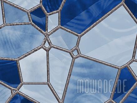 tapeten design blau mosaik vlies wohnzimmer