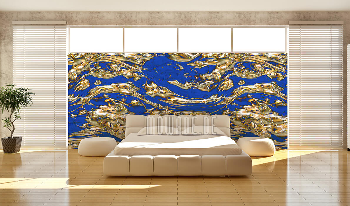 tapetendesign blau gold fluss vlies wunschformat