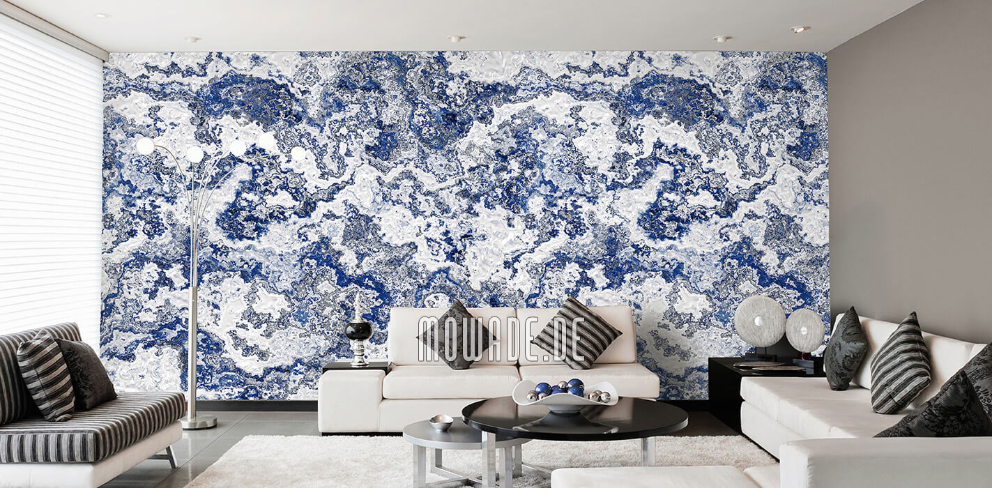 vliestapete blau weiss erd-stein-struktur modern