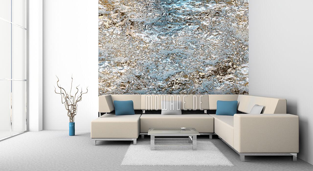 wand design tuerkis gold vliestapete wohnzimmer lounge struktur