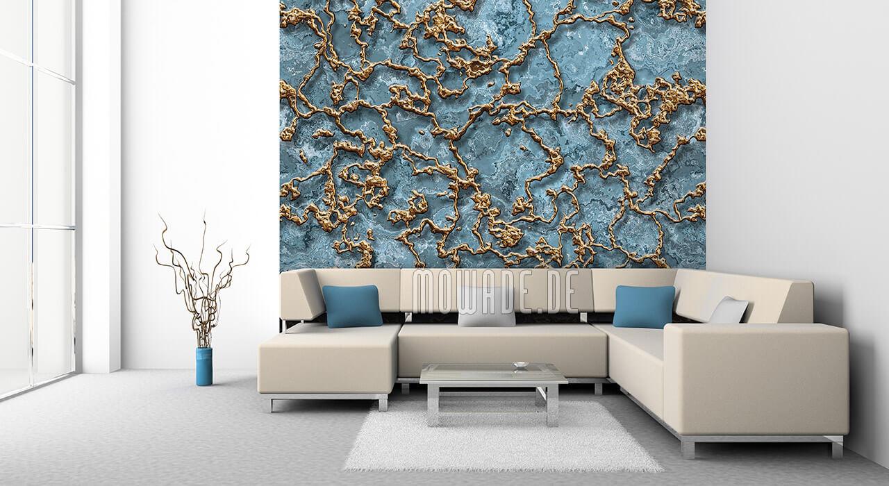 wand-tapete tuerkis gold struktur wohnzimmer bild