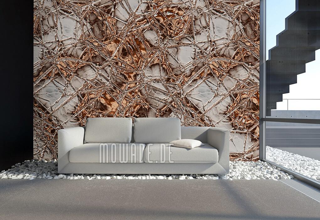 wandbelag braun grau flechten-struktur metall-optik lounge wohnzimmer