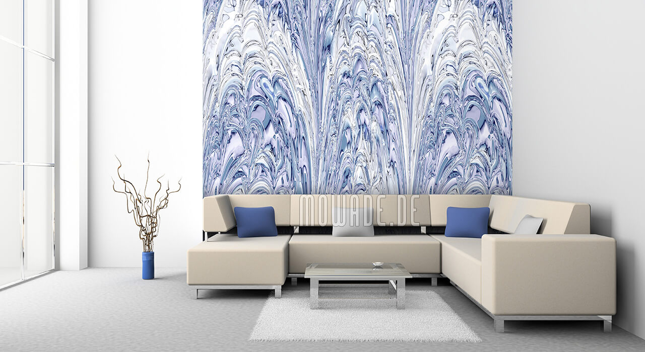 wandbelag pastell-blau weiss fontaenen tapete lounge