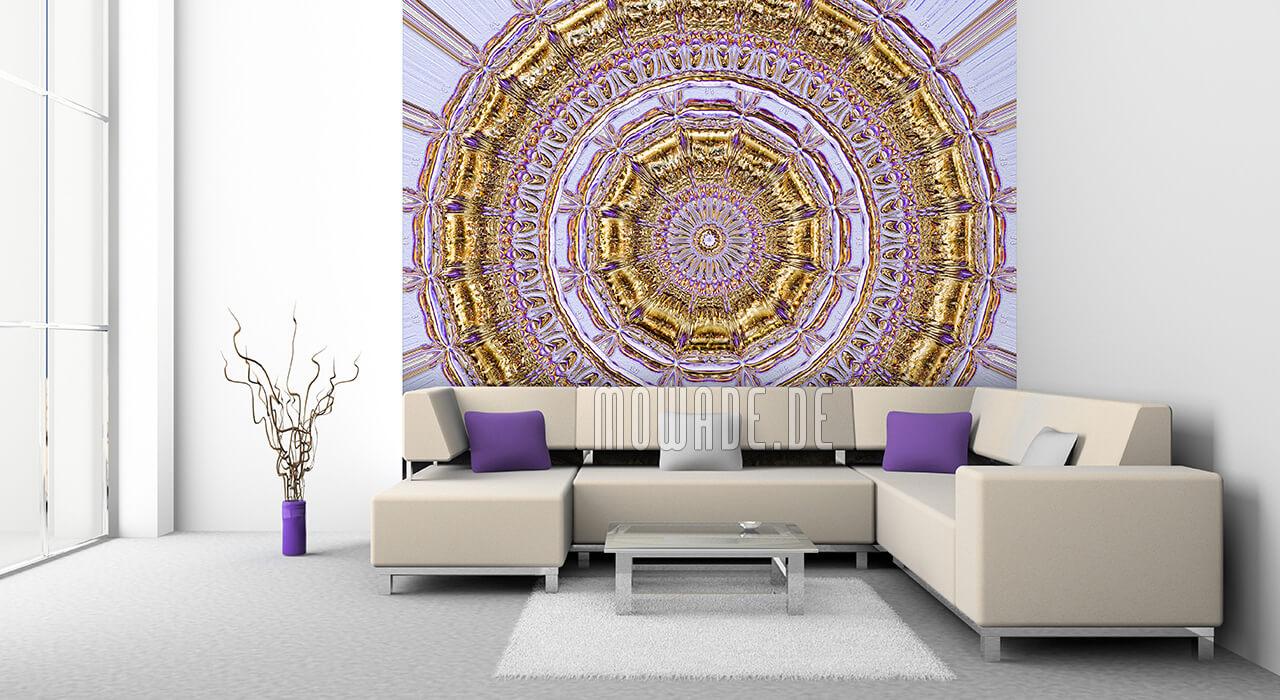 wandbild flieder gold neo-barock stuck rosette tapete
