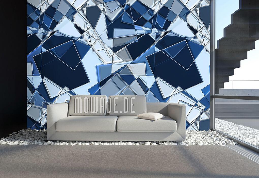 wandbild geometrie blaue quadrate tapeten online bestellen