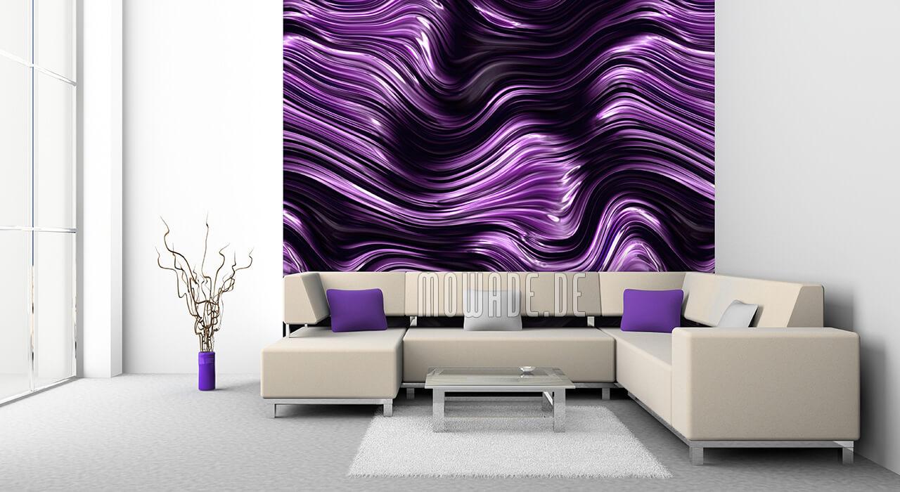 wandbild violett schwarz wellen-muster tapete wohnzimmer
