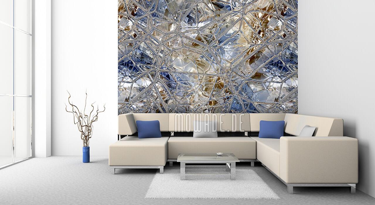 wanddesign blau braun glas-mosaik bild-tapete lounge wohnzimmer