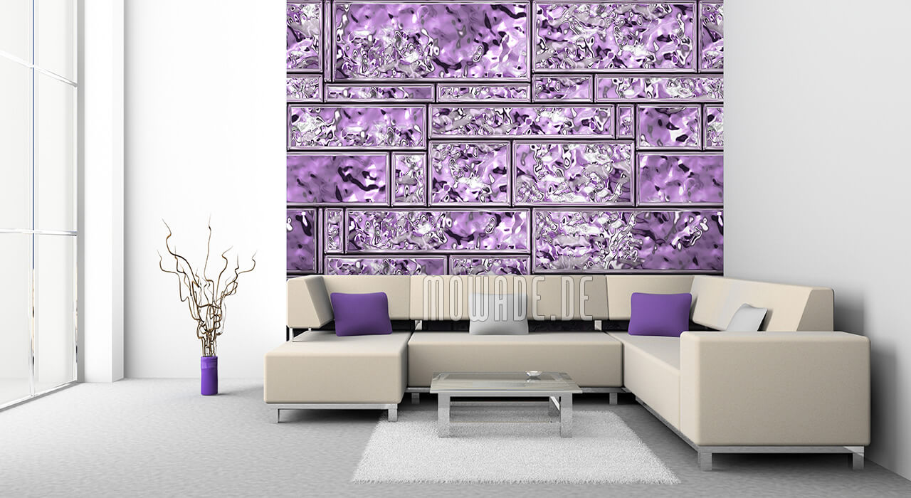 wanddesign violett metall-look wohnzimmer kachel-streifen vliestapete