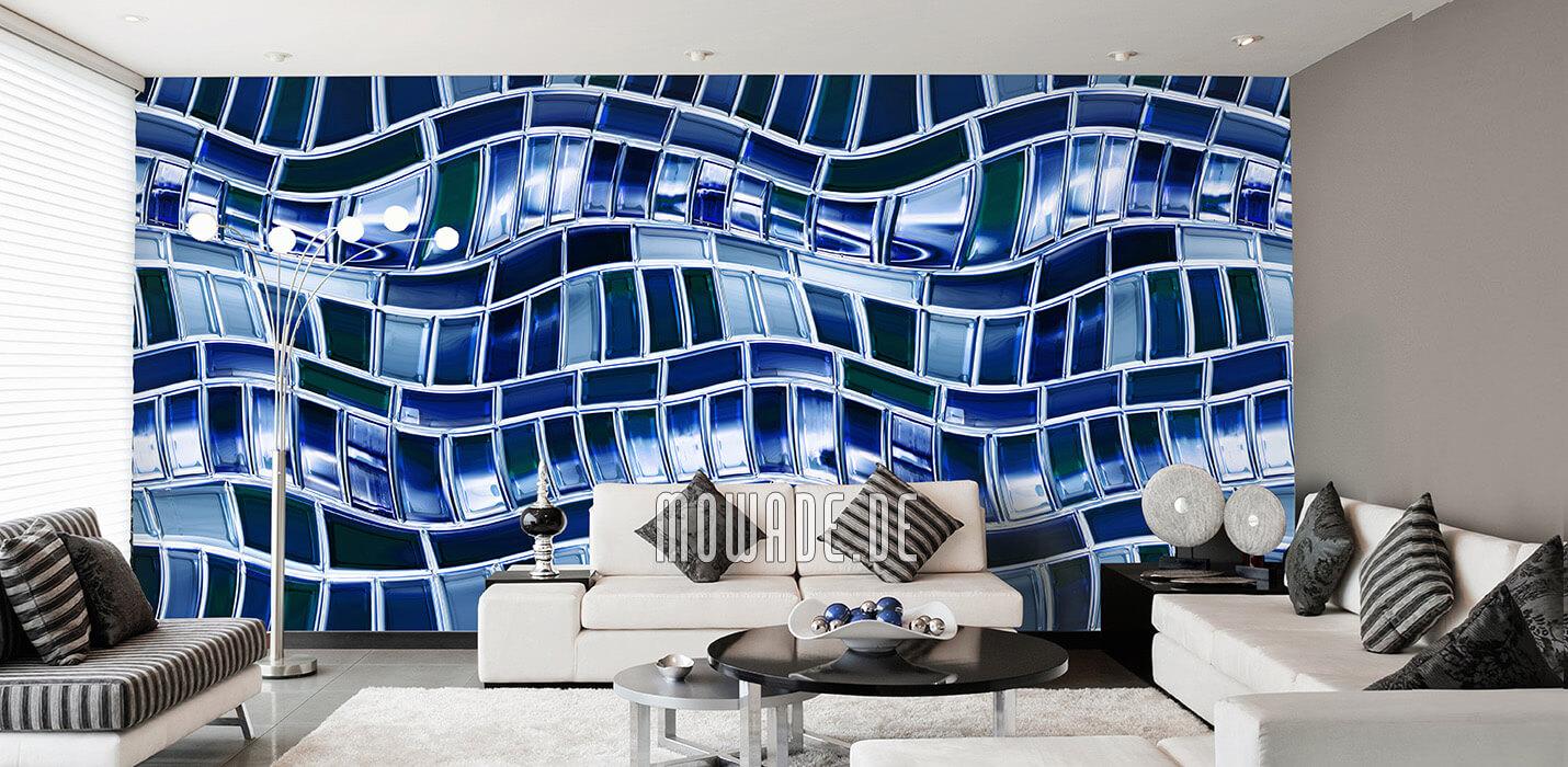 wandgestaltung blau welle mosaik tapete metall-optik