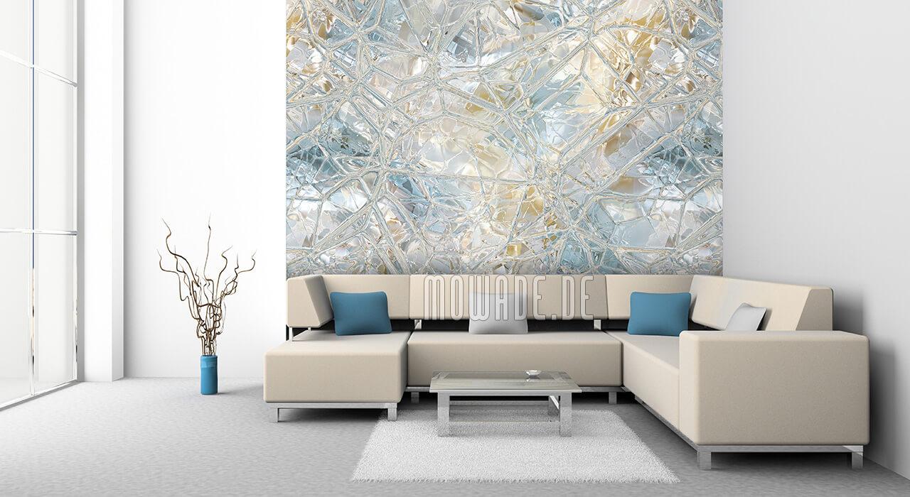 wandgestaltung glas-mosaik bild-tapete pastell tuerkis ocker-gelb