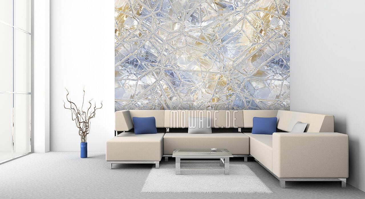 wandgestaltung glas-mosaik pastell-blau ocker bild-tapete