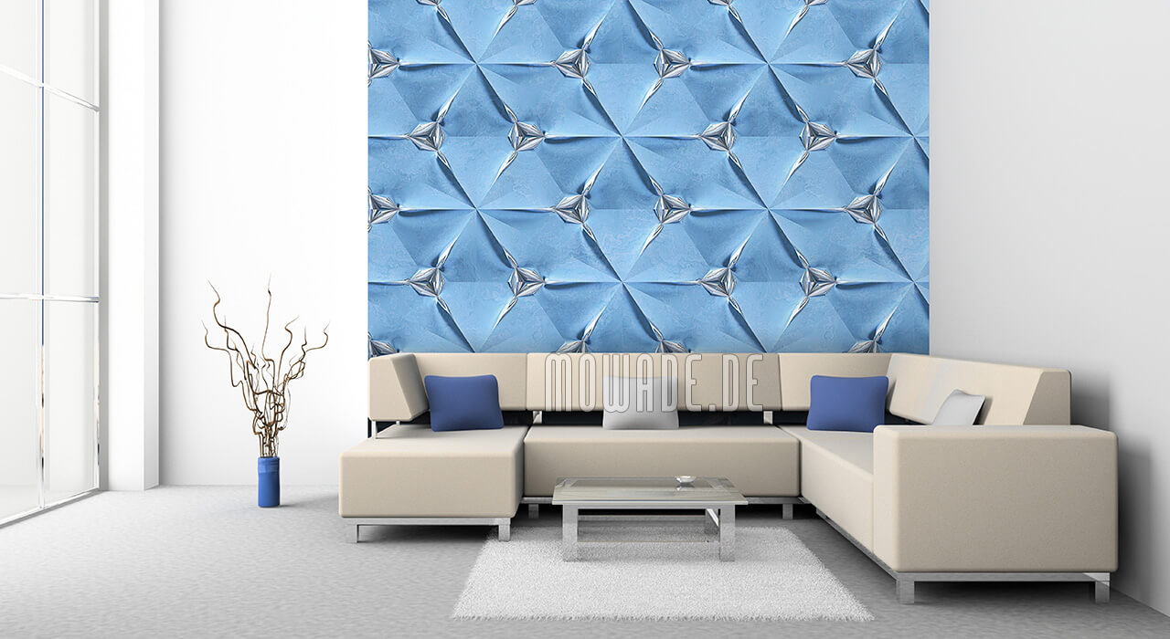 wandgestaltung hellblau silber bild tapete geometrisches muster