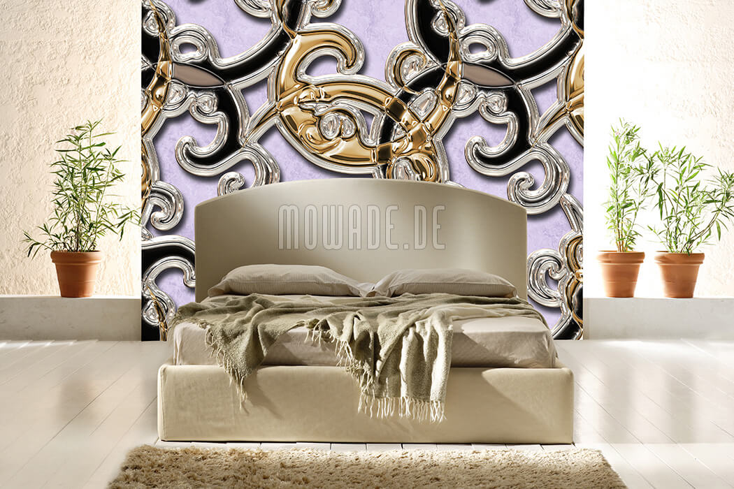 wandmotiv neo-barock flieder gold schwarz ornament xxl vliestapete