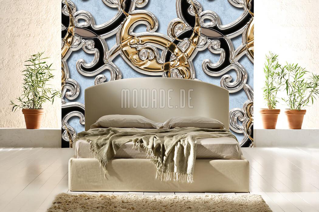 wandmotiv neo-barock hellblau gold schwarz ornament xxl vliestapete