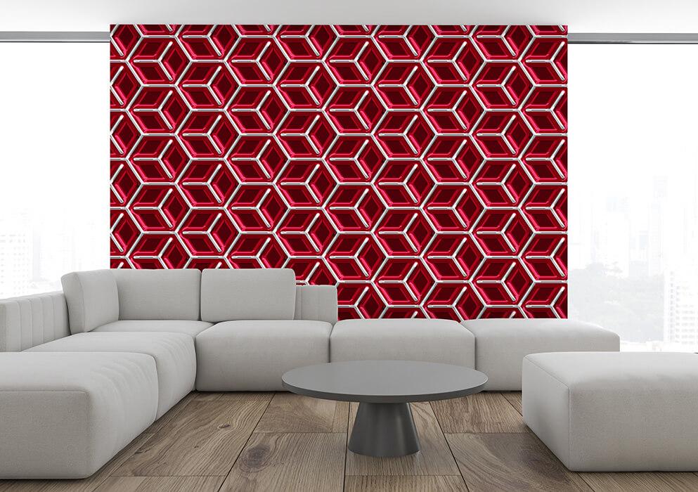 design-tapeten wohnzimmer rot metall-look wuerfel