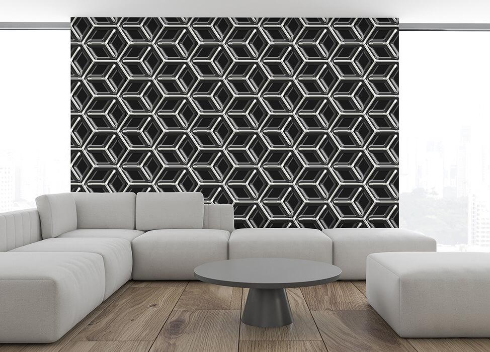 design-tapeten wohnzimmer schwarz metall-look wuerfel