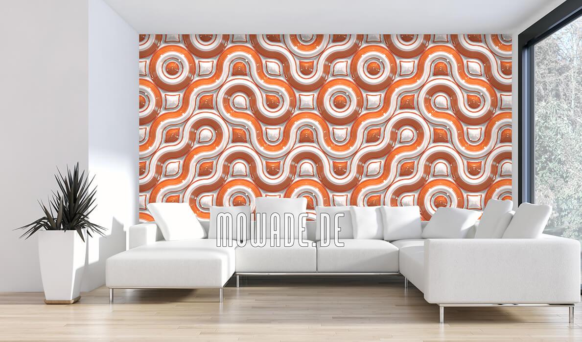 moderne fototapete retro design orange weiss wellen-band