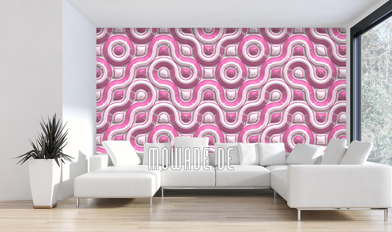 moderne fototapete retro design rosa wellen-band