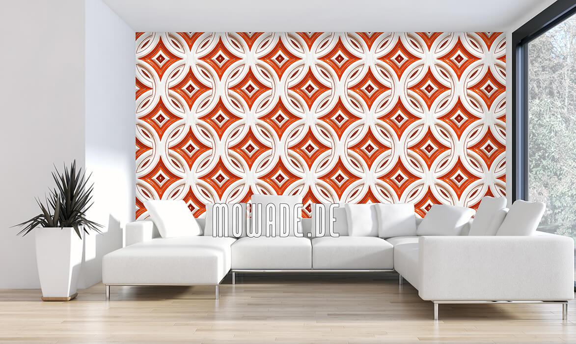 retro tapete kreise mit sternen orange weiss 3d-optik