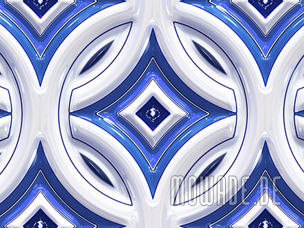 retro tapeten blau weiss rundes muster mit stern